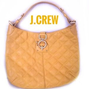 J. Crew yellow quilted leather hobo purse